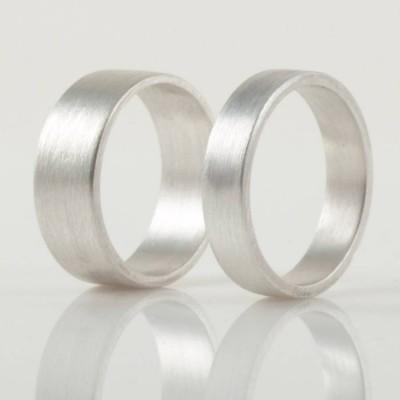 Silber Wedding Band Ring Hand geschmiedeten Flach Fit