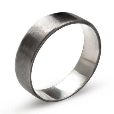 Sterling Silber oxidierter flacher Hochzeits Band Ring