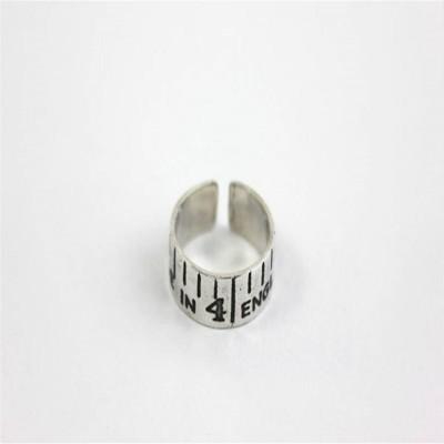 Geätzten Silber Vintage Style Bandmaß Ring