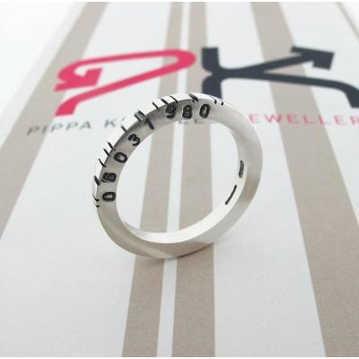 Thin Quadrat Silber Barcode Ring