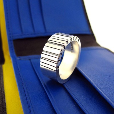 Weit Silber Barcode Ring