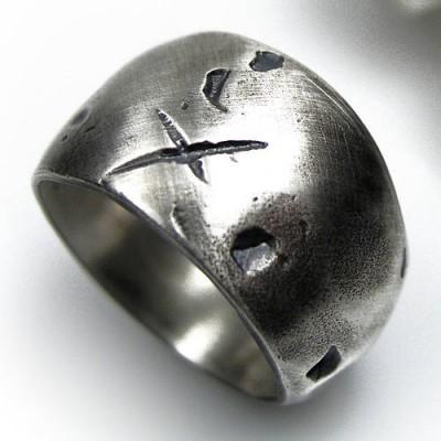 Rustikal, breit, silber Gnarled Ring