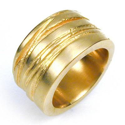 Breites Silber Textur Bound Ring in 18 Karat Gold überzogen
